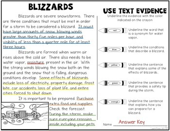 Blizzards: Research, Graphic Organizers, Text Evidence, and Safety Tips