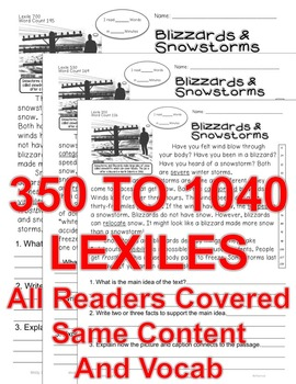 Blizzards & Snowstorms Close Read 5 Levels Information Text ALL-READERS-COVERED