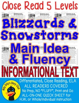 Blizzards & Snowstorms Close Read 5 Levels Information Tex