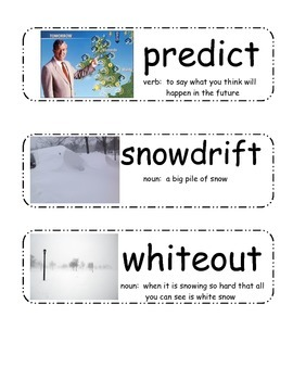 Blizzards by Eric Charlesworth Vocabulary Cards