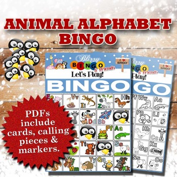 Blizzy Bingo ANIMAL ALPHABET BINGO Printable PDFs