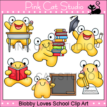 Blobby Loves School Clip Art - Personal & Commercial Use