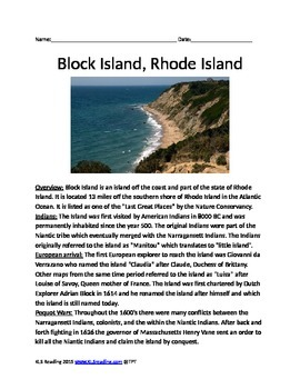 Block Island - Rhode Island - lesson - review article questions history facts