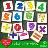 Clipart, Number Blocks and Math Operators Clip Art in Bright Colors, AMB-467