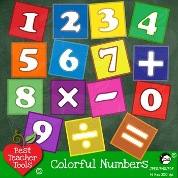 Number Blocks Clipart, Numbers and Math Signs Clip Art in Bright Colors, AMB-468
