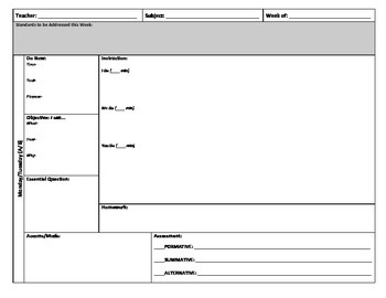 Block Schedule Lesson Plan Template By Julie W TpT - Lesson plan schedule template