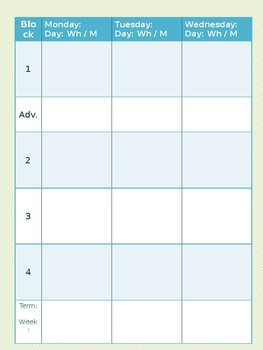 Block Schedule Teacher Planner Template, Fully Editable by Light the ...