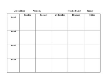 Block schedule weekly lesson plan grid by susan mccauley tpt for Block graph template