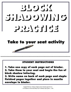 """Block Shadowing Practice """"Take to Your Seat"""" Activity"""