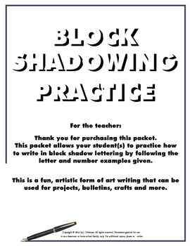 "Block Shadowing Practice ""Take to Your Seat"" Activity"