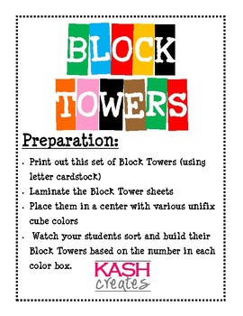 Block Towers (Sorting, Counting, and Building in Kindergarten)