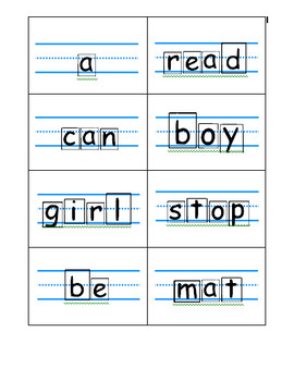 Block letters font, primary flash cards template