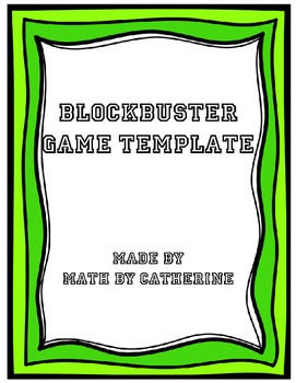 Blockbuster Game Template