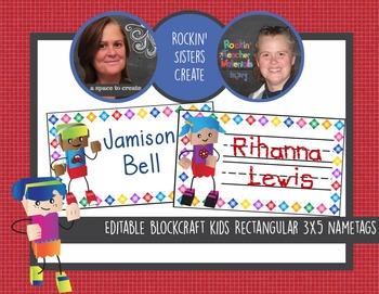 Blockcraft Kids 3x5 Editable Name Tags w/32 Different Bloc
