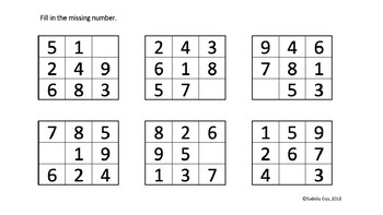 Fun with Sudoku Guy (K- Gr 3, LESSON 4): Combined rows & blocks + puzzles.