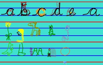 Blocks of letters for review of cursive handwriting