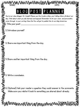 Blog Post Planner for Kids
