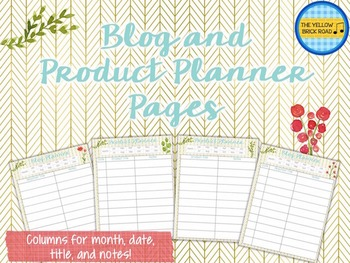 Blog and TPT Product Planner Pages