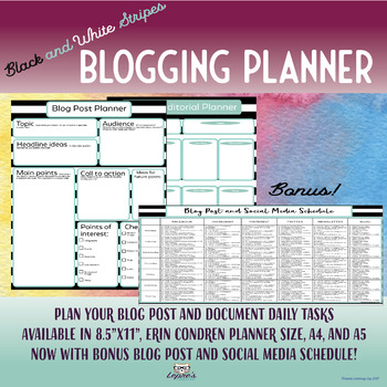 Blogging planner for teachers and students: Multiple sizes for your planner