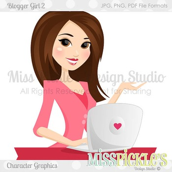 Blogging Girl 2, Teacher Avatar- Commercial Use Character Graphic