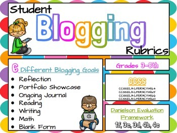 Blogging Rubrics for Students: Google Slides (CCSS & Danielson Aligned)