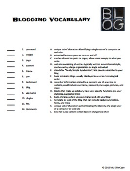 Blogging Vocabulary Activity Packet