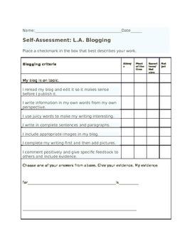 Blogging assessment rubric