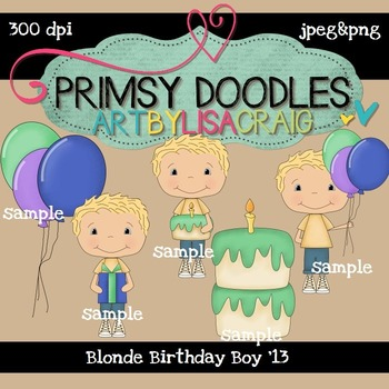 Blonde Birthday Boy 300 dpi clipart