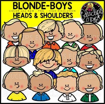 Blonde Boys Heads & Shoulders Clip Art Set {Educlips Clipart}