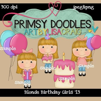 Blonde Girl Birthday 300 dpi clipart