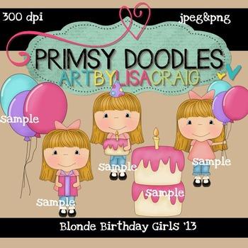 Blonde Girl Birthday 300 dpi clipart