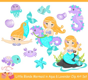 Blonde Mermaids in Lavender and Aqua Clipart Set
