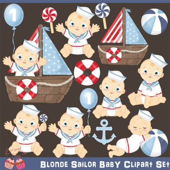 Blonde Sailor Baby Clipart Set