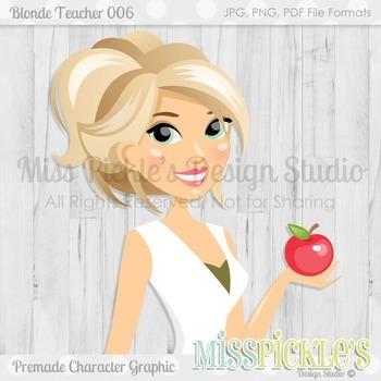 Blonde Teacher 006, Teacher Avatar- Commercial Use Character Graphic