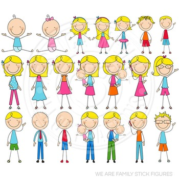 Blonde We Are Family Stick Figures Cute Clipart, Stick Figures Clip Art