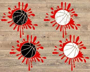 Blood Basketball svg Splatter Splash ball ink Love valentine's day 1182S