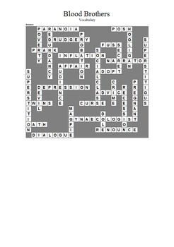 Blood Brothers - Vocabulary Crossword Puzzle