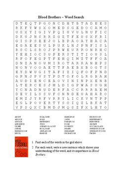 Blood Brothers by Willy Russell - Word Search Puzzle