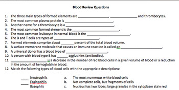Blood Cell Review Questions with Answer Key