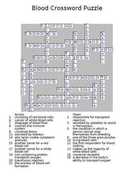 Blood Crossword Puzzle