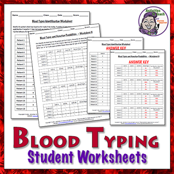 Blood Facts: Typing Worksheets with Answers