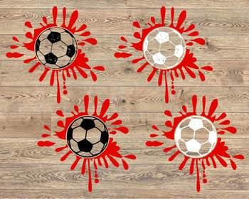 Blood Soccer ink svg ball Splatter Soccerball valentine's day 1184s