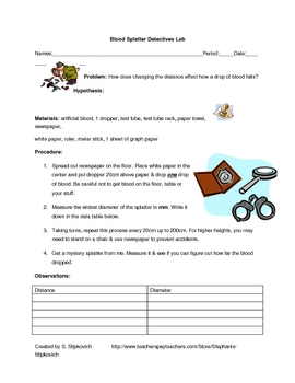 Blood Spatter Worksheet: blood spatter detectives lab by the science source tpt,