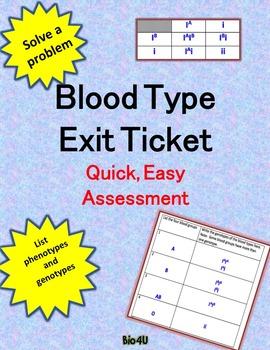 Blood Type Exit Ticket