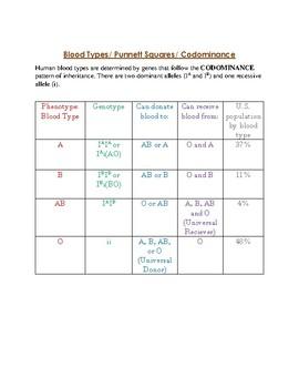 Blood Types (Codominace)/ Punnett Squares