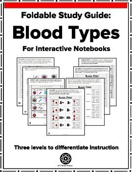 Blood Types - Foldable for Interactive Notebooks - Differentiated