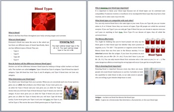 Blood Types - Science Reading Article - Grades 5-7