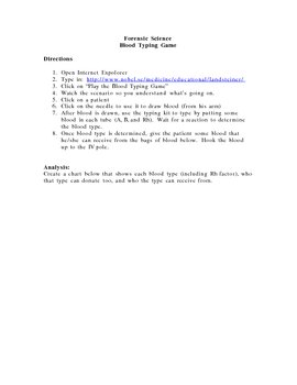 Blood Typing Game web-assignment