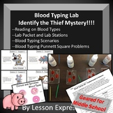 Blood Typing Lab Stations -- Who's The Thief Mystery