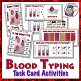 Blood Typing Task Cards - 93 cards plus solution cards